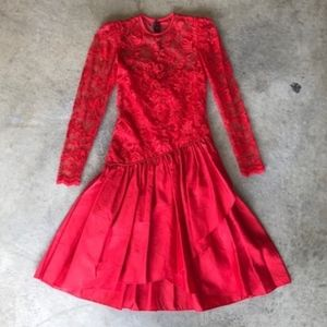 Vintage 80s Red Ruffle Lace Long Sleeve Dress 4/6